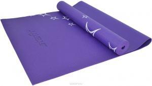 Коврик для йоги STARFIT FM-102 PVC 173x61x0,5 см, с рисунком, фиолетовый