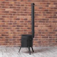 Печка с дверцей и дымоходом под казан на 6-22 литров