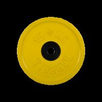 Диск обрезиненный, желтый, евро-классик 15 кг