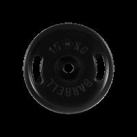 Диск обрезиненный, черный, евро - классик с ручками, 15 кг